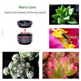 APEXEL 4 in 1 Lensa Fisheye + Macro + Wide Angle + Telephoto Lens Kit + Mini Tripod - APL-HS12XDG3ZJ - Black - 10
