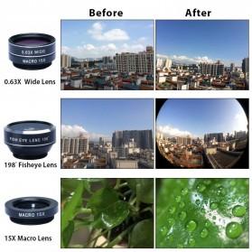 APEXEL 4 in 1 Lensa Fisheye + Macro + Wide Angle + Telephoto Lens Kit + Mini Tripod - APL-HS12XDG3ZJ - Black - 11