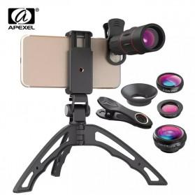 APEXEL 4 in 1 Lensa Fisheye + Macro + Wide Angle + Telephoto Lens Kit + Switchpod Mini Tripod - APL-T16XJJ04 - Black