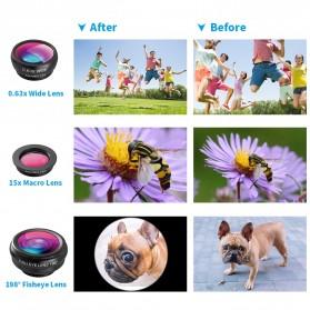 APEXEL 4 in 1 Lensa Fisheye + Macro + Wide Angle + Telephoto Lens Kit + Switchpod Mini Tripod - APL-T16XJJ04 - Black - 4