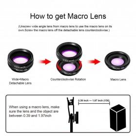 APEXEL 4 in 1 Lensa Fisheye + Macro + Wide Angle + Telephoto Lens Kit + Switchpod Mini Tripod - APL-T16XJJ04 - Black - 7