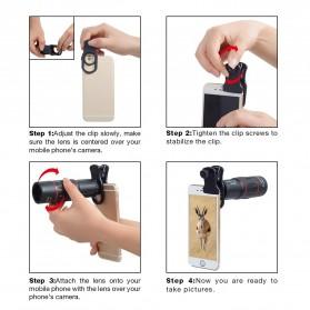 APEXEL 4 in 1 Lensa Fisheye + Macro + Wide Angle + Telephoto Lens Kit + Switchpod Mini Tripod - APL-T16XJJ04 - Black - 10