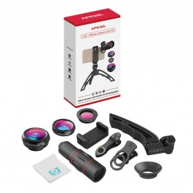 APEXEL 4 in 1 Lensa Fisheye + Macro + Wide Angle + Telephoto Lens Kit + Switchpod Mini Tripod - APL-T16XJJ04 - Black - 11