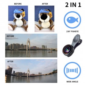 APEXEL Lensa Kamera Smartphone Fisheye 238 Degree Full Frame - APL-238F - Black - 3