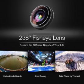 APEXEL Lensa Kamera Smartphone Fisheye 238 Degree Full Frame - APL-238F - Black - 4