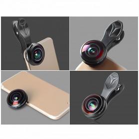 APEXEL Lensa Kamera Smartphone Fisheye 238 Degree Full Frame - APL-238F - Black - 5