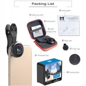 APEXEL Lensa Kamera Smartphone Fisheye 238 Degree Full Frame - APL-238F - Black - 9
