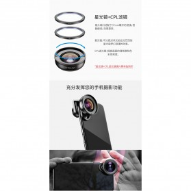 APEXEL Lensa Kamera Smartphone Universal Clip 110 Wide Angle Lens - APL-HD5W - Black - 5