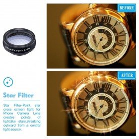 APEXEL 10 in 1 Lensa Fisheye + Macro + Wide Angle + Telephoto + Kaleidoscope + Filter Lens Kit - APL-DG10 - Black - 4