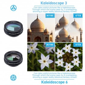 APEXEL 10 in 1 Lensa Fisheye + Macro + Wide Angle + Telephoto + Kaleidoscope + Filter Lens Kit - APL-DG10 - Black - 6