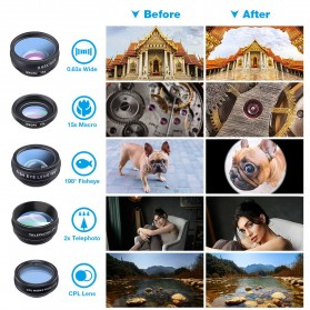 APEXEL 10 in 1 Lensa Fisheye + Macro + Wide Angle + Telephoto + Kaleidoscope + Filter Lens Kit - APL-DG10 - Black - 7