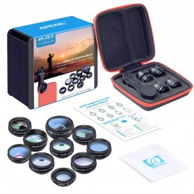 APEXEL 10 in 1 Lensa Fisheye + Macro + Wide Angle + Telephoto + Kaleidoscope + Filter Lens Kit - APL-DG10 - Black - 9