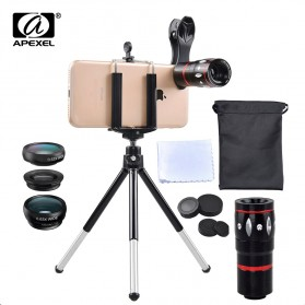 APEXEL 4 in 1 Lensa Fisheye + Macro + Wide Angle + Telephoto + Mini Tripod + Bluetooth Shutter - APL-10XDG3ZJ - Black