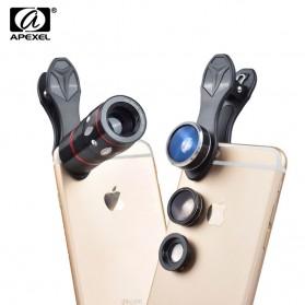 APEXEL 4 in 1 Lensa Fisheye + Macro + Wide Angle + Telephoto + Mini Tripod + Bluetooth Shutter - APL-10XDG3ZJ - Black - 2