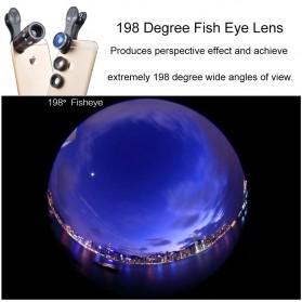 APEXEL 4 in 1 Lensa Fisheye + Macro + Wide Angle + Telephoto + Mini Tripod + Bluetooth Shutter - APL-10XDG3ZJ - Black - 5