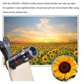 APEXEL 4 in 1 Lensa Fisheye + Macro + Wide Angle + Telephoto + Mini Tripod + Bluetooth Shutter - APL-10XDG3ZJ - Black - 9