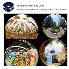 APEXEL 4 in 1 Lensa Fisheye + Macro + Wide Angle + Telephoto + Mini Tripod + Bluetooth Shutter - APL-10XDG3ZJ - Black - 10