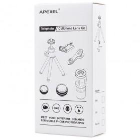 APEXEL 4 in 1 Lensa Fisheye + Macro + Wide Angle + Telephoto + Mini Tripod + Bluetooth Shutter - APL-10XDG3ZJ - Black - 12