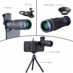 APEXEL 2 in 1 Lensa Telephoto 18X + Tripod Mini - APL-T18ZJ - Black - 5