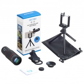 APEXEL 2 in 1 Lensa Telephoto 18X + Tripod Mini - APL-T18ZJ - Black - 9