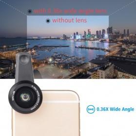 APEXEL 2 in 1 Lensa Macro + Wide Angle Lens Kit + LED Flashlight - APL-3663FL - Black - 2