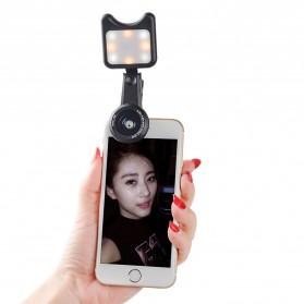 APEXEL 2 in 1 Lensa Macro + Wide Angle Lens Kit + LED Flashlight - APL-3663FL - Black - 7