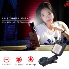 APEXEL 2 in 1 Lensa Macro + Wide Angle Lens Kit + LED Flashlight - APL-3663FL - Black - 8