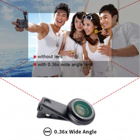 APEXEL 2 in 1 Lensa Macro + Wide Angle Lens Kit + LED Flashlight - APL-3663FL - Black - 9