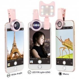APEXEL 2 in 1 Lensa Macro + Wide Angle Lens Kit + LED Flashlight - APL-3663FL - Black - 11