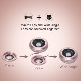 APEXEL 2 in 1 Lensa Macro + Wide Angle Lens Kit + LED Flashlight - APL-3663FL - Black - 12