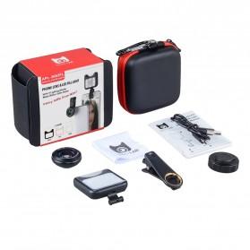 APEXEL 2 in 1 Lensa Macro + Wide Angle Lens Kit + LED Flashlight - APL-3663FL - Black - 13