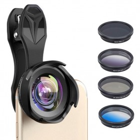 APEXEL 2 in 1 Lensa Wide Angle 10mm + Macro 10x + 4 Filter Lens Kit - APL-16MMS - Black - 8