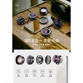APEXEL Lensa Kamera Smartphone Universal Clip 5 in 1 Lens Kit - APL-HD5-V2 - Black - 5