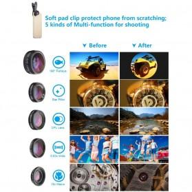 APEXEL 6 in 1 Lensa Fisheye + Macro + Wide Angle + Star Filter +Telephoto Lens Kit + Switchpod Mini Tripod - APL-JS16JJ04D5 - Black - 5