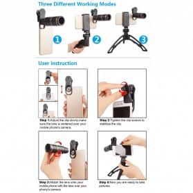APEXEL 6 in 1 Lensa Fisheye + Macro + Wide Angle + Star Filter +Telephoto Lens Kit + Switchpod Mini Tripod - APL-JS16JJ04D5 - Black - 7