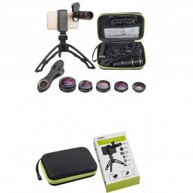 APEXEL 6 in 1 Lensa Fisheye + Macro + Wide Angle + Star Filter +Telephoto Lens Kit + Switchpod Mini Tripod - APL-JS16JJ04D5 - Black - 8