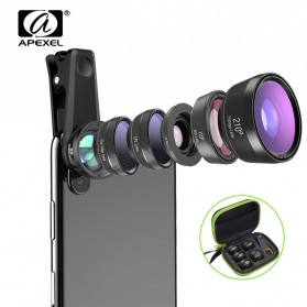 APEXEL 6 in 1 Lensa Fisheye + Macro + Wide Angle + CPL + Star Filter Lens Kit - APL-DG6 - Black