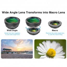 APEXEL 6 in 1 Lensa Fisheye + Macro + Wide Angle + CPL + Star Filter Lens Kit - APL-DG6 - Black - 2