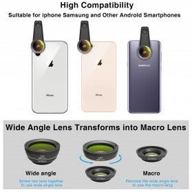 APEXEL 6 in 1 Lensa Fisheye + Macro + Wide Angle + CPL + Star Filter Lens Kit - APL-DG6 - Black - 8