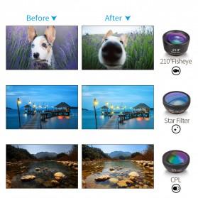 APEXEL 6 in 1 Lensa Fisheye + Macro + Wide Angle + CPL + Star Filter Lens Kit - APL-DG6 - Black - 9