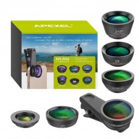 APEXEL 6 in 1 Lensa Fisheye + Macro + Wide Angle + CPL + Star Filter Lens Kit - APL-DG6 - Black - 10