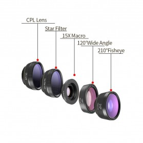 APEXEL 6 in 1 Lensa Fisheye + Macro + Wide Angle + CPL + Star Filter Lens Kit - APL-DG6 - Black - 11