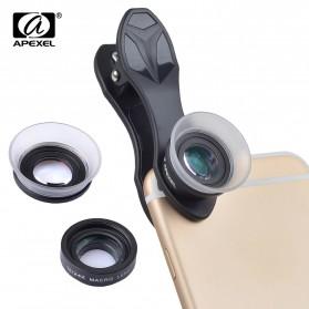 APEXEL Lensa Kamera Smartphone Super Macro Lens Kit 12x/24x - APL-24XMH - Black