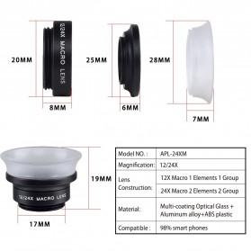 APEXEL Lensa Kamera Smartphone Super Macro Lens Kit 12x/24x - APL-24XMH - Black - 11