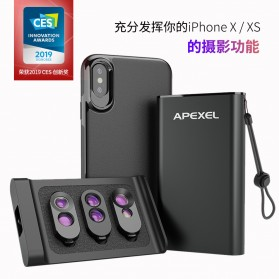 APEXEL iPhone XS MAX Case with Lens Kit - IPMX-MWFT06 - Black