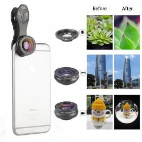 APEXEL 3 in 1 Lensa Fisheye + Macro 15x + Wide Angle Lens Kit - APL-SJ3 - Black - 2