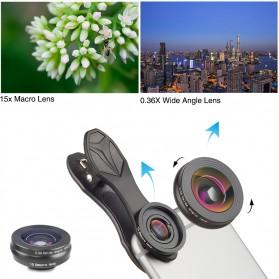 APEXEL 3 in 1 Lensa Fisheye + Macro 15x + Wide Angle Lens Kit - APL-SJ3 - Black - 4