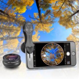 APEXEL 3 in 1 Lensa Fisheye + Macro 15x + Wide Angle Lens Kit - APL-SJ3 - Black - 6