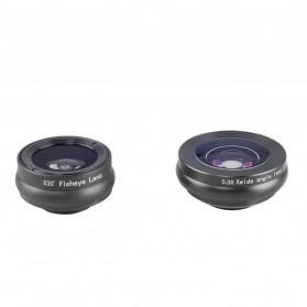 APEXEL 3 in 1 Lensa Fisheye + Macro 15x + Wide Angle Lens Kit - APL-SJ3 - Black - 8