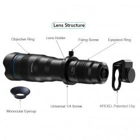 APEXEL Lensa Telephoto Lens Kit 36x + SwitchPod Mini Tripod - APL-JS36XJJ04 - Black - 5
